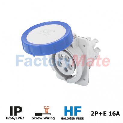 GW62227H 10° ANGLED FLUSH-MOUNTING SOCKET-OUTLET HP - IP66/IP67 - 2P+E 16A 200-250V 50/60HZ - BLUE - 6H - SCREW WIRING