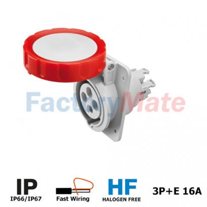GW62231FH  10° ANGLED FLUSH-MOUNTING SOCKET-OUTLET HP - IP66/IP67 - 3P+E 16A 380-415V 50/60HZ - RED - 6H - FAST WIRING