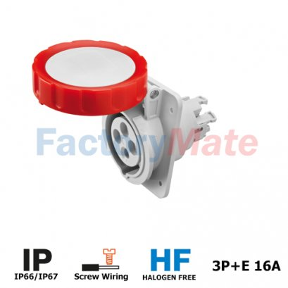 GW62231H  10° ANGLED FLUSH-MOUNTING SOCKET-OUTLET HP - IP66/IP67 - 3P+E 16A 380-415V 50/60HZ - RED - 6H - SCREW WIRING