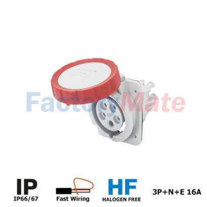 GW62232FH  10° ANGLED FLUSH-MOUNTING SOCKET-OUTLET HP - IP66/IP67 - 3P+N+E 16A 380-415V 50/60HZ - RED - 6H - FAST WIRING