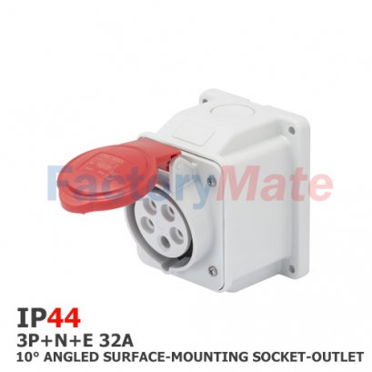 GW62420  10° ANGLED SURFACE-MOUNTING SOCKET-OUTLET - IP44 - 3P+N+E 32A 380-415V 50/60HZ - RED - 6H - SCREW WIRING