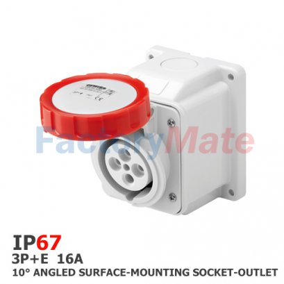 GW62430  10° ANGLED SURFACE-MOUNTING SOCKET-OUTLET - IP67 - 3P+E 16A 380-415V 50/60HZ - RED - 6H - SCREW WIRING