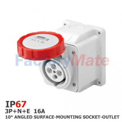 GW62431  10° ANGLED SURFACE-MOUNTING SOCKET-OUTLET - IP67 - 3P+N+E 16A 380-415V 50/60HZ - RED - 6H - SCREW WIRING(copy)