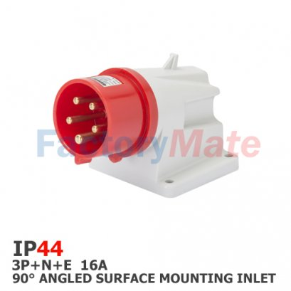 GW60409  90° ANGLED SURFACE MOUNTING INLET - IP44 - 3P+N+E 16A 380-415V 50/60HZ - RED - 6H - SCREW WIRING
