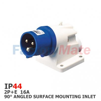 GW60404  90° ANGLED SURFACE MOUNTING INLET - IP44 - 2P+E 16A 200-250V 50/60HZ - BLUE - 6H - SCREW WIRING