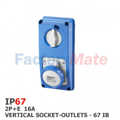 GW66204N VERTICAL FIXED INTERLOCKED SOCKET OUTLET - WITH BOTTOM - WITHOUT FUSE-HOLDER BASE - 2P+E 16A 200-250V - 50/60HZ 6H - IP67