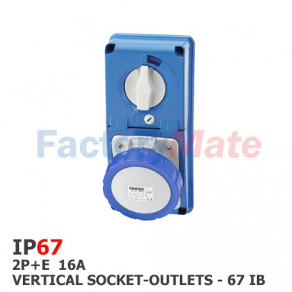 GW66326N  VERTICAL FIXED INTERLOCKED SOCKET OUTLET - WITHOUT BOTTOM - WITH FUSE-HOLDER BASE - 2P+E 16A 200-250V - 50/60HZ 6H - IP67