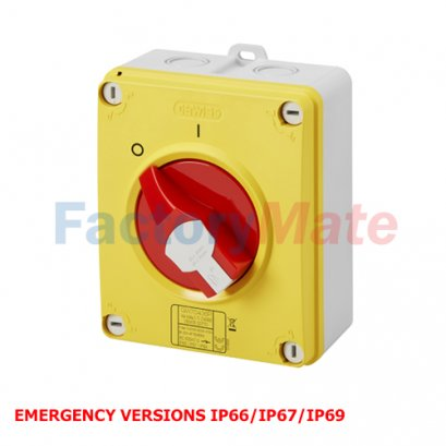 ISOLATOR - HP - EMERGENCY - ISOLATING MATERIAL BOX - 16A-160A- LOCKABLE RED KNOB - IP66/67/69