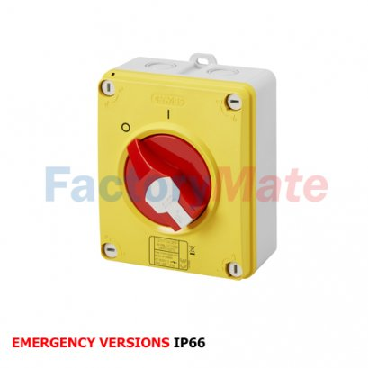 ISOLATOR - HP - EMERGENCY - ISOLATING MATERIAL BOX - 16A-160A- LOCKABLE RED KNOB - IP66