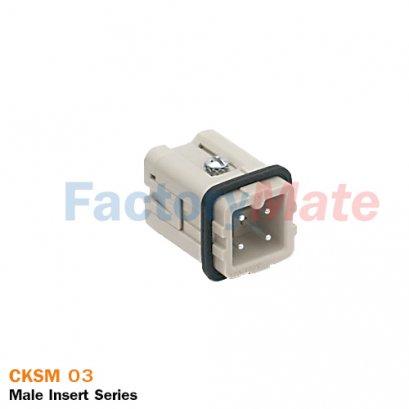 "ILME CKSM 03   Male insert, CKS series, spring terminal connection, 3 poles + PE, 10 A 400 V 4 kV 3, size ""21.21"""