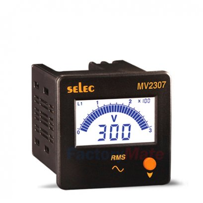 Digital Voltmeters  3Ø, Selector Switch for page selection, Size : 72 x 72mm : MV2307