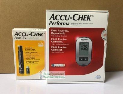เครื่องตรวจน้ำตาลปลายนิ้ว Accu-Chek Perfoma (ปากกา Fastclix) (แผ่นตรวจซื้อแยก)