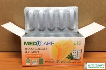 แผ่นตรวจน้ำตาล MediCare LiS BG-101 (1 แผง)