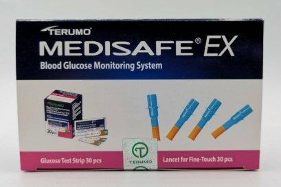 แผ่นตรวจน้ำตาลพร้อมเข็มเจาะเลือด TERUMO Medisafe EX อย่างละ 30 ชิ้น (หมดอายุ 07/2022)