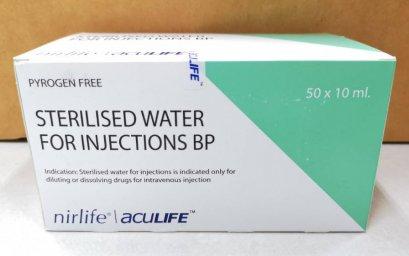 น้ำกลั่น Sterile Water 10 mL - Nirlife Aculife เกรดดี (50กระเปาะ/กล่อง)