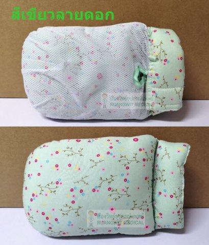 ถุงมือกันดึงสายแบบนิ่ม สีเขียวลายดอก (ราคา/1ข้าง)