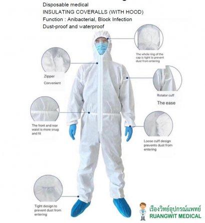 ชุด PPE Coverall with Hood กันน้ำ (Type5/6)