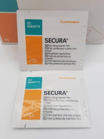 Secura No-Sting Barrier Film (Wipe) แผ่นเช็ดปกป้องผิวหนัง (ราคาต่อ 1 แผ่น)