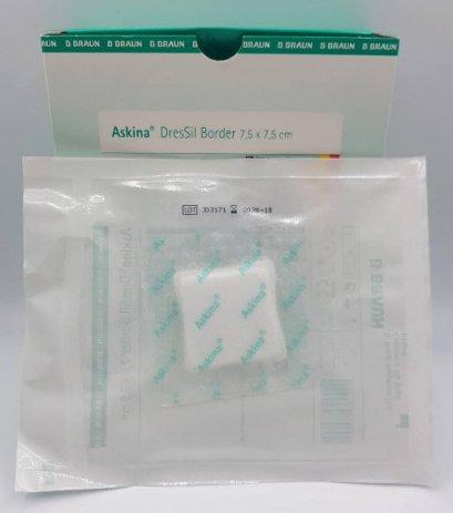 Askina DresSil Border 7.5x7.5 cm (มีขอบกาวกันน้ำ) exp 31/10/2020