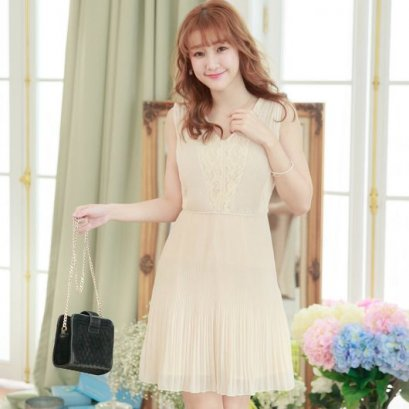 YOCO Lace pleated chiffon dress - Apricot 6004333