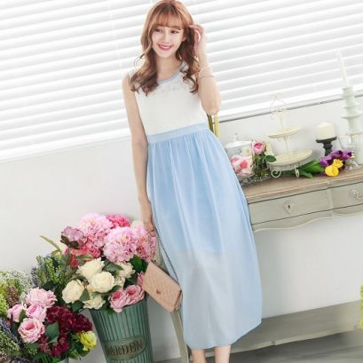 YOCO Neckline lace trim sleeveless long dress -blue 6007403