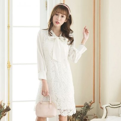 YOCO Tie collar stitching lace dress - white 6022378