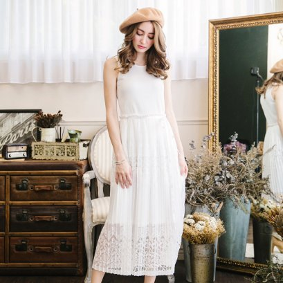 YOCO stitching lace skirt vest dress - white 6023540