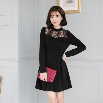 MAYUKI see through lace stitching pleated dress  - black 6024458