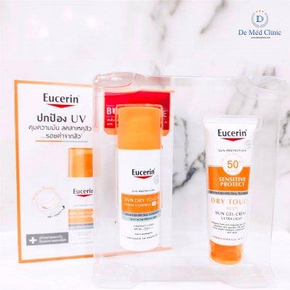 Set กันแดด Eucerin sun dry touch sebum control dp60+ ( BUY 1 GET 1 FREE Eucerin sun dry touch Body )ทั้งผิวหน้าและผิวตัว Demed