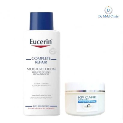 Set ดูแลปัญหาขนคุด Eucerin Complete Repair 250 ml + KP Cure Cream 30g เคพีพลัสครีม ครีมแก้ปัญหา ขนคุด แขน ขา หลัง