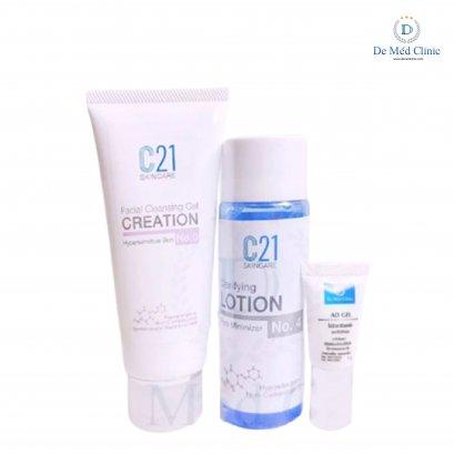 Special Set เซทดูแลรูขุมขนกว้างผิวมัน C21 Clarifying Lotion Pore Minimizer + กับ BR Derm Facial Cleansing Foam Mousse หน้าใส + AD Gel รูขุมขนดูเล็กลง Set 3 ชิ้น DeMed Clinic