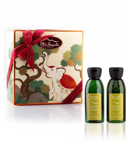 Paper Box with Body Wash and Body Lotion (Lemongrass)