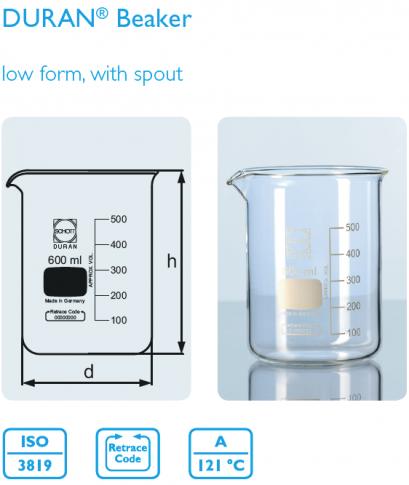 Beaker, low form 600 ml
