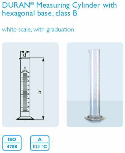 Measuring Cylinder with hexagonal base, class B 100 mL