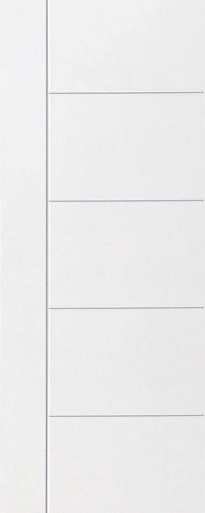 ประตูHDF บานเรียบ เซาะร่อง 1 เส้นตรง 4 เส้นนอน รองพื้นสีขาว