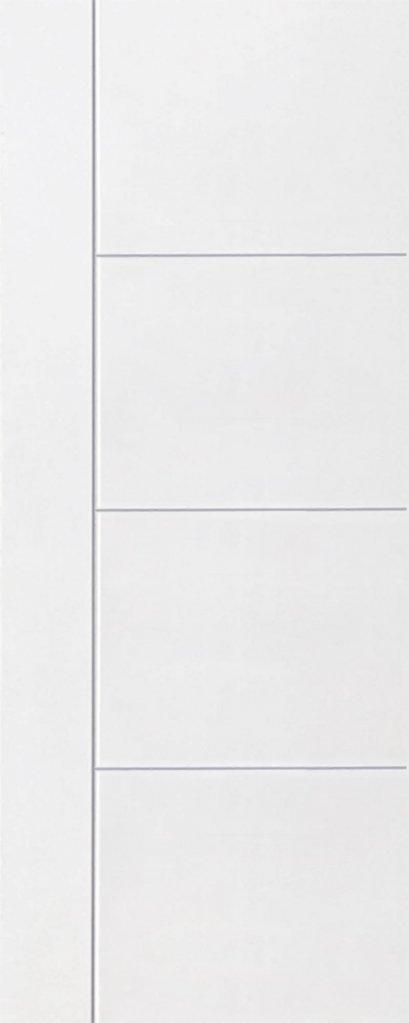 ประตูUPVC ผิวหน้าเรียบ สีขาว บานเรียบ เซาะร่อง 1 เส้นตรง 3 เส้นนอน