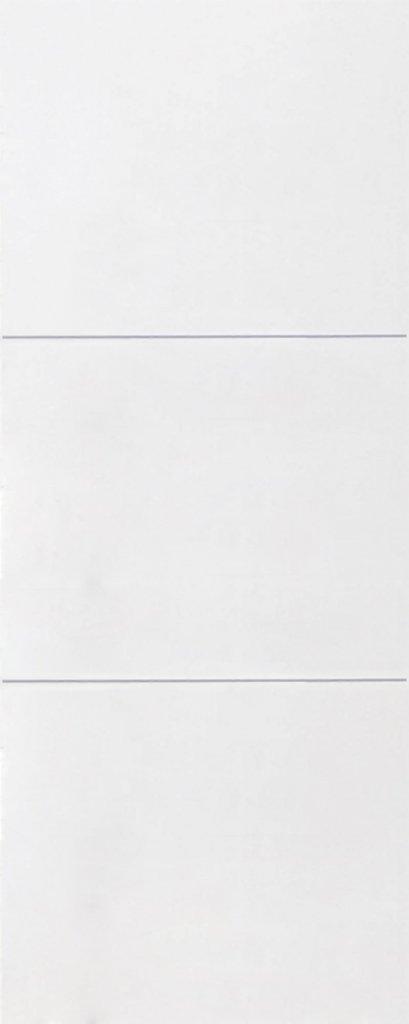 ประตูUPVC ผิวหน้าเรียบ สีขาว บานเรียบ เซาะร่อง 2 เส้นนอน