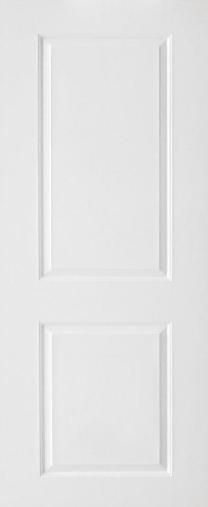 ประตูUPVC ผิวหน้าลายไม้ สีขาว บานลูกฟัก 2 ช่องตรง