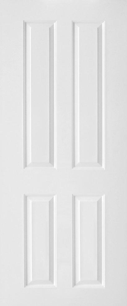 ประตูUPVC ผิวหน้าลายไม้ สีขาว บานลูกฟัก 4 ช่องตรง