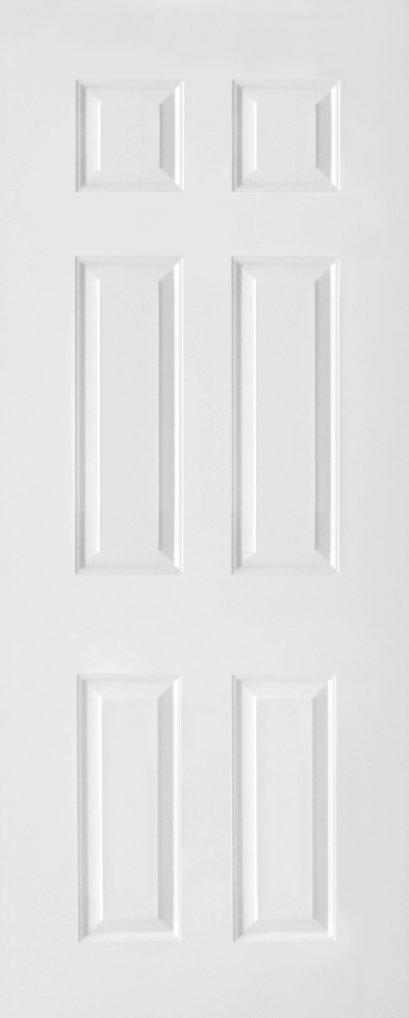 ประตูUPVC สีขาวลายไม้ บานลูกฟัก 6 ช่องตรง