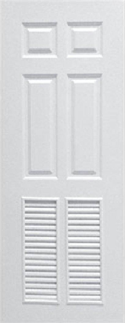 ประตูUPVC สีขาว ผิวลายไม้ บานลูกฟัก 6 ช่องตรง+เจาะเกล็ด 1/2