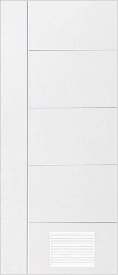 ประตูUPVC ผิวหน้าลายไม้ สีขาว เซาะร่องสำเร็จรูป 1 เส้นตรง 4 เส้นนอน+เจาะเกล็ด 1/4