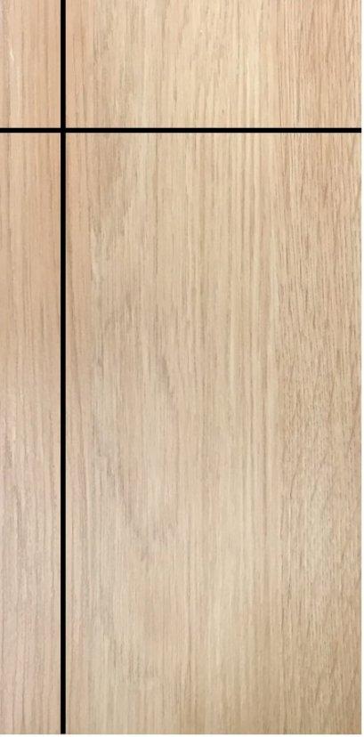 ประตูUPVC ผิวหน้าลายไม้ สีYellowAsh บานเรียบ เซาะร่อง 1 เส้นตรง 1 เส้นนอน