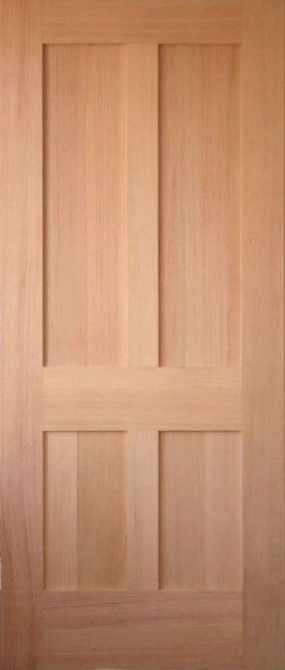 ประตูไม้เนื้อแข็ง (สยา) บานลูกฟัก 4 ช่องตรง (ไม่รวมทำสี)