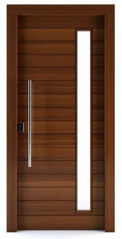 ประตูไม้แดงเอ็นจิเนียร์บานเรียบแนวนอน (ไม่รวมทำสี) เจาะช่องกระจก