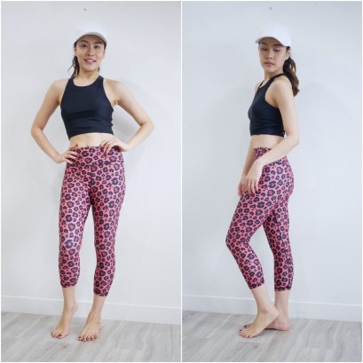 CROPPED PANT - BRICK LEOPARD