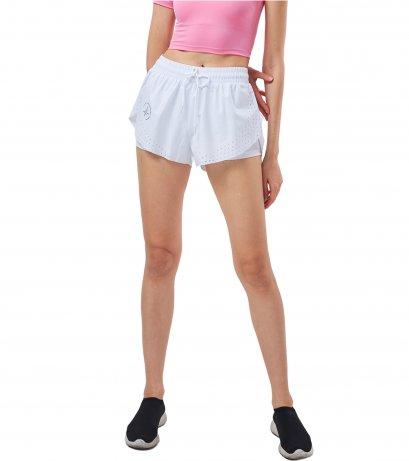 กางเกงวิ่ง ขาสั้นมีซับใน สีขาว