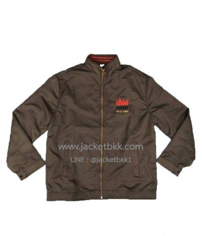 ตัวอย่างผลงาน เสื้อแจ็คเก็ตสีน้ำตาลพร้อมปัก
