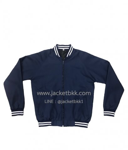 Jacket เสื้อแจ็คเก็ต ทรางเบสบอลสีกรมท่า ปกขลิบขาว