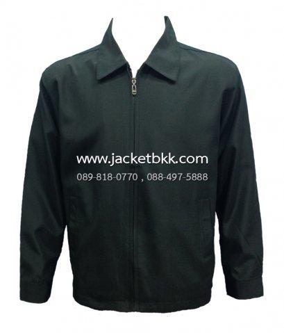 เสื้อแจ็คเก็ต นำเข้า สีดำล้วน คอปก ผ้ามัน